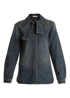 Chloé Tie-neck denim shirt