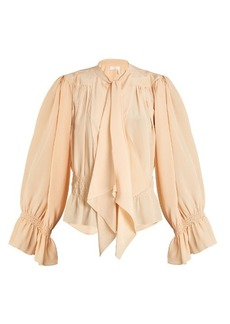 Chloé Tie-neck gathered silk crepe de Chine blouse