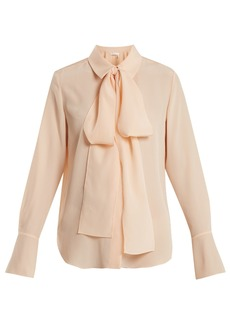 Chloé Tie-neck silk-crepe shirt