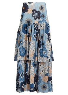 Chloé Tiered floral-print cotton maxi skirt