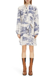 Chloé Toile Long Sleeve Belted Silk Minidress