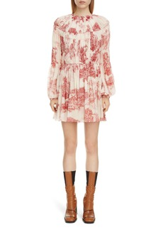 Chloé Toile Long Sleeve Smocked Silk Georgette Minidress