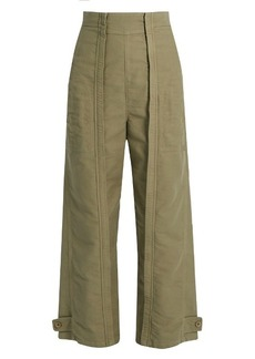 Chloé Topstitched wide-leg cotton trousers