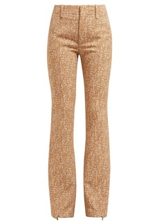 Chloé Tweed-print ankle-zip crepe flared trousers