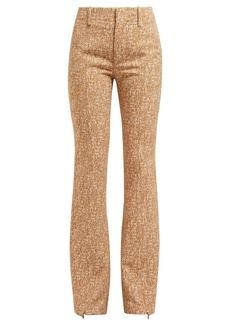 Chloé Tweed-print ankle-zip crepe flared trousers