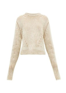 Chloé Two-tone ribbed wool-blend sweater