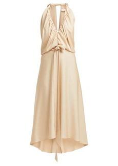Chloé V-neckline gathered satin midi dress