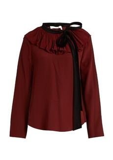 Chloé Velvet-tie ruffled-neck crepon blouse