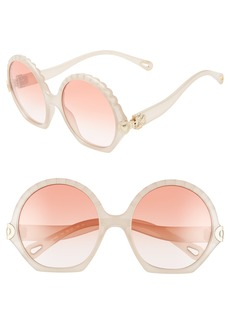 Chloé Vera Seashell 56mm Round Sunglasses