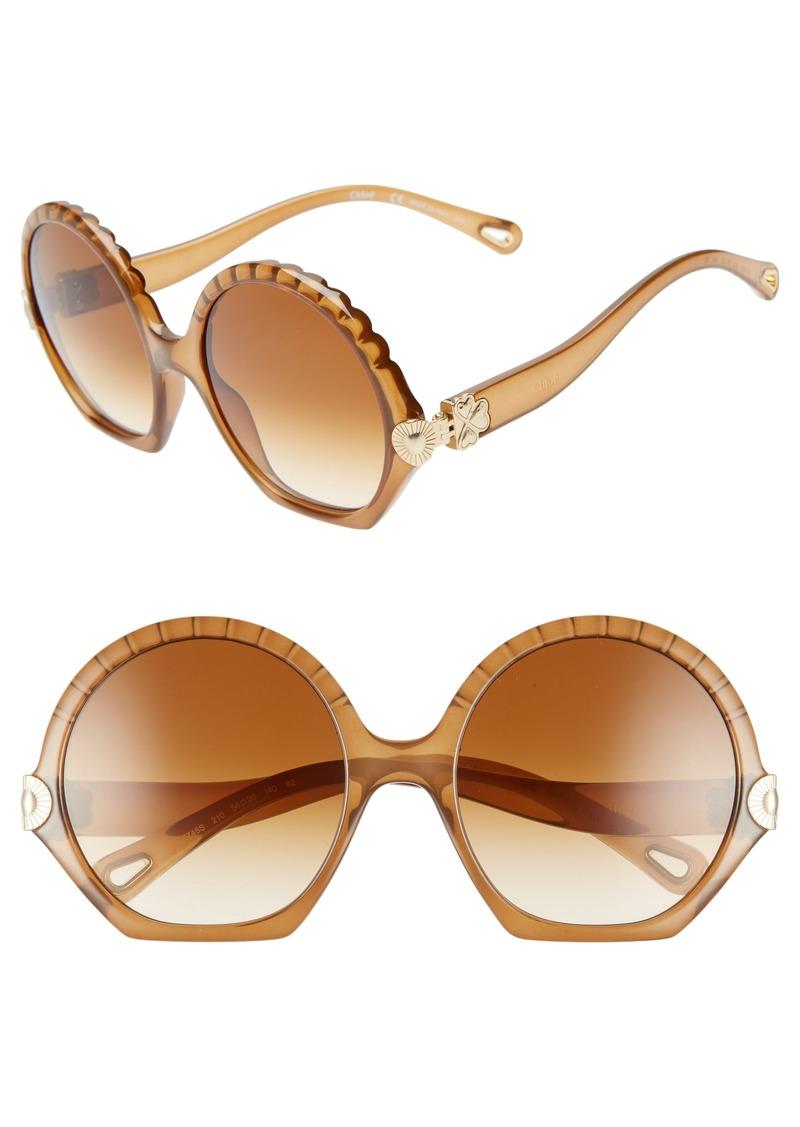 e1a3de455729 Chloé Chloé Vera Seashell 56mm Round Sunglasses