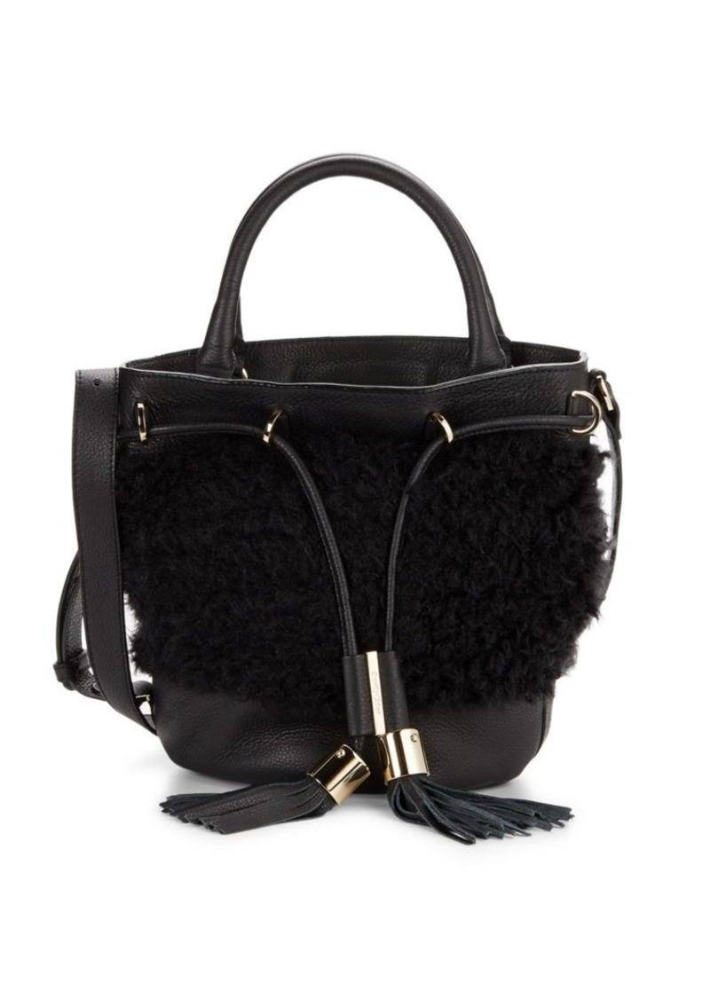 Chloé Vicki Shearling-Trimmed Bucket Bag