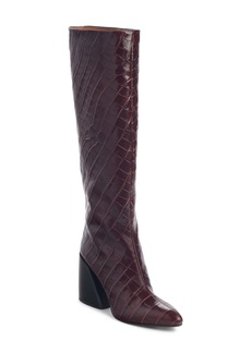 Chloé Wave Croc Embossed Knee High Boot (Women)