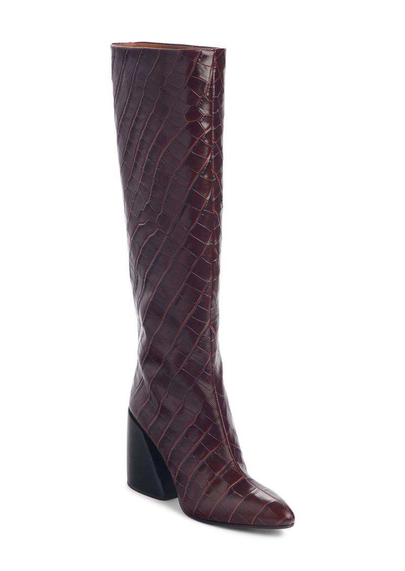 Chloé Wave Croc Embossed Knee High Boot (Women)