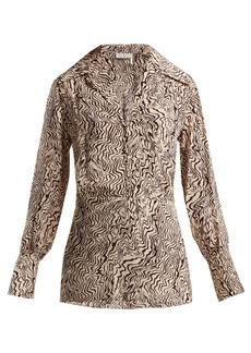Chloé Wave-print V-neck silk blouse