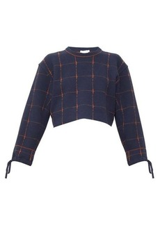 Chloé Windowpane-check wool-blend cropped sweater