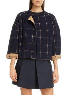 Chloé Windowpane Check Merino Wool & Cashmere Coat