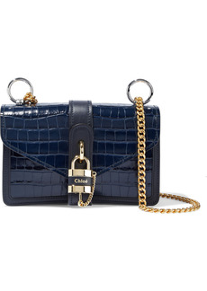 Chloé Woman Aby Chain Croc-effect Leather Shoulder Bag Midnight Blue
