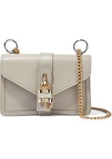 Chloé Woman Aby Chain Textured-leather Shoulder Bag Stone