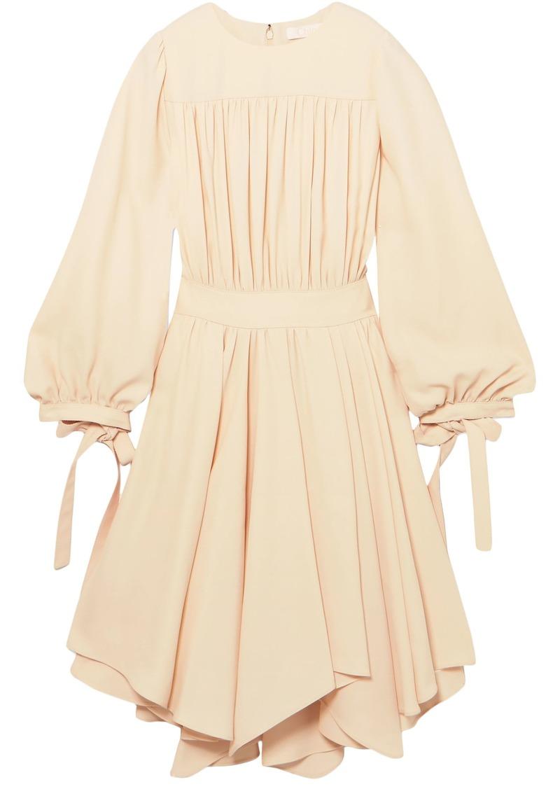 Chloé Woman Asymmetric Gathered Cady Dress Beige
