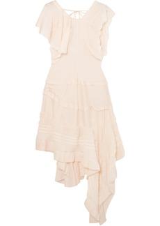 Chloé Woman Asymmetric Lace-trimmed Silk-blend Dress Cream