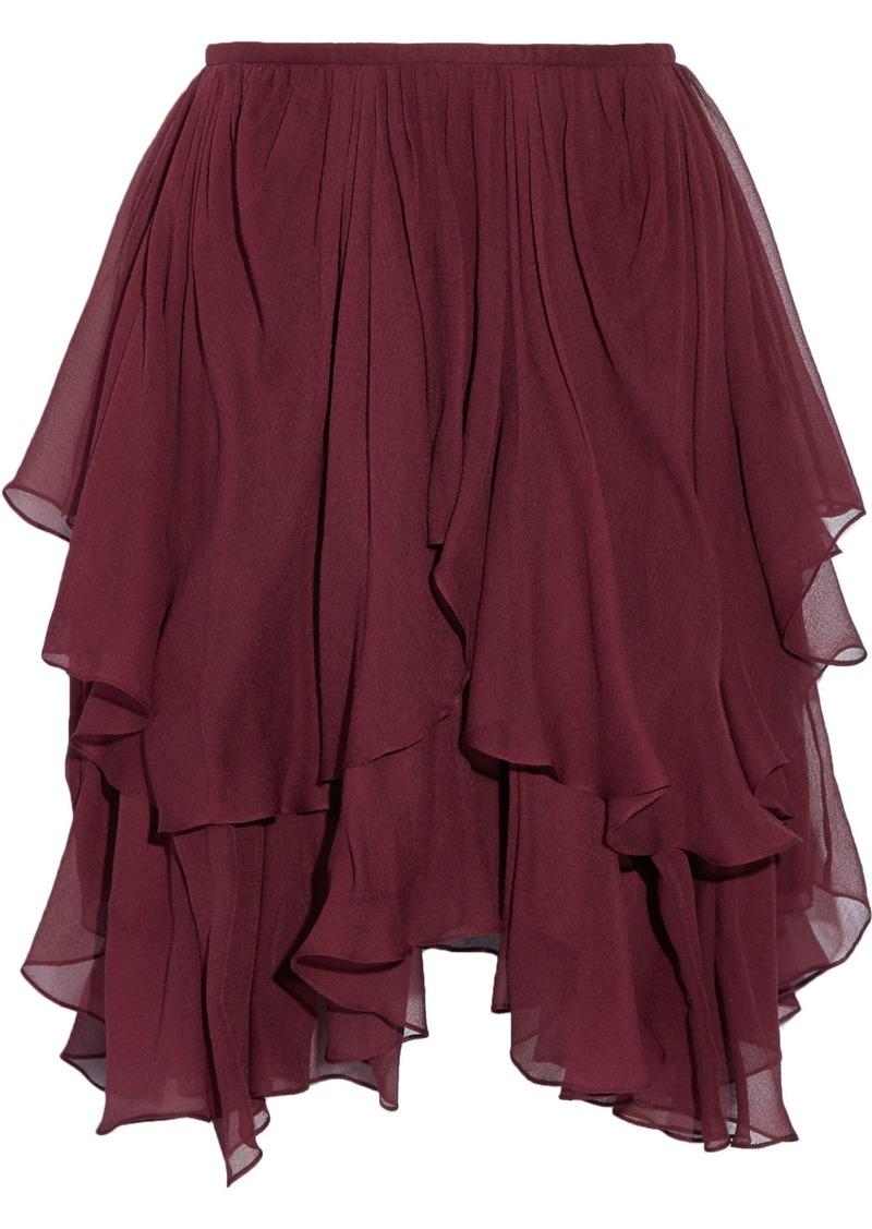 Chloé Woman Asymmetric Layered Silk-georgette Mini Skirt Burgundy