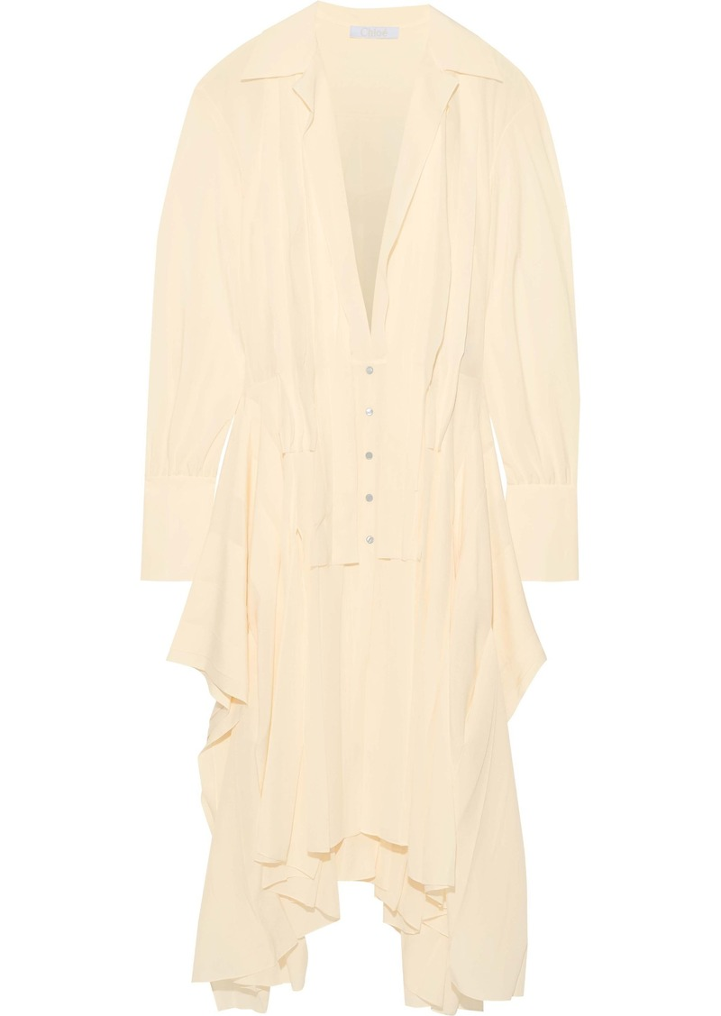 Chloé Woman Asymmetric Pleated Silk-chiffon Shirt Dress Cream