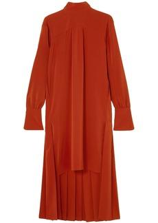 Chloé Woman Asymmetric Pleated Silk Crepe De Chine Dress Red