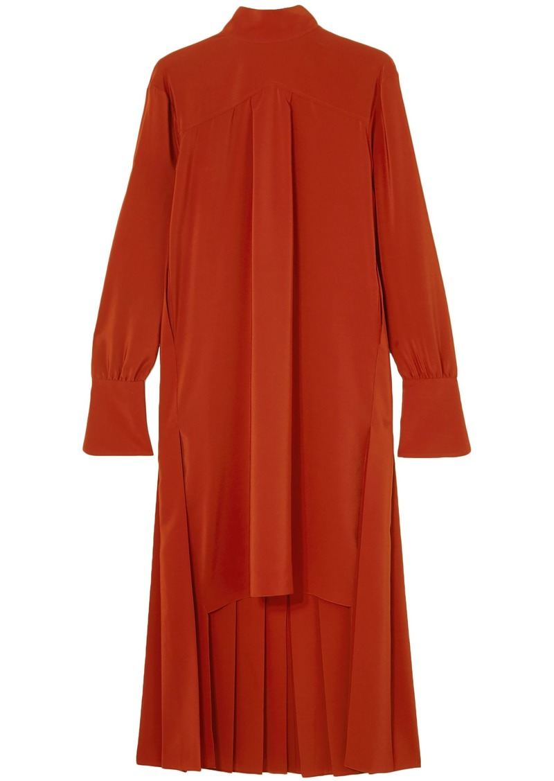 Chloé Woman Asymmetric Pleated Silk Crepe De Chine Dress Red