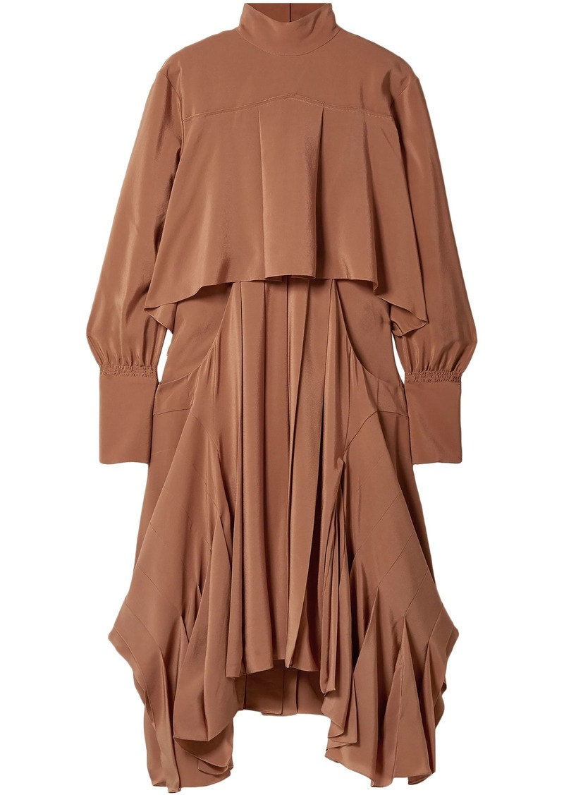 Chloé Woman Asymmetric Pleated Silk Crepe De Chine Turtleneck Dress Camel