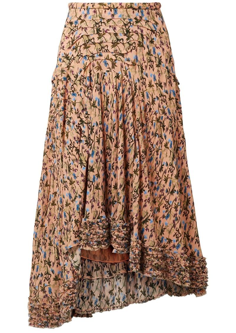 Chloé Woman Asymmetric Printed Crepe Midi Skirt Blush
