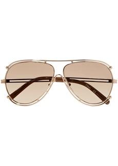 Chloé Woman Aviator-style Gold-tone Sunglasses Gold