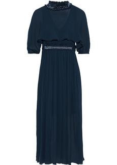Chloé Woman Bead-embellished Cotton And Silk-blend Georgette Midi Dress Navy