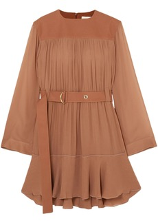 Chloé Woman Belted Mousseline And Silk-blend Crepe Mini Dress Brown