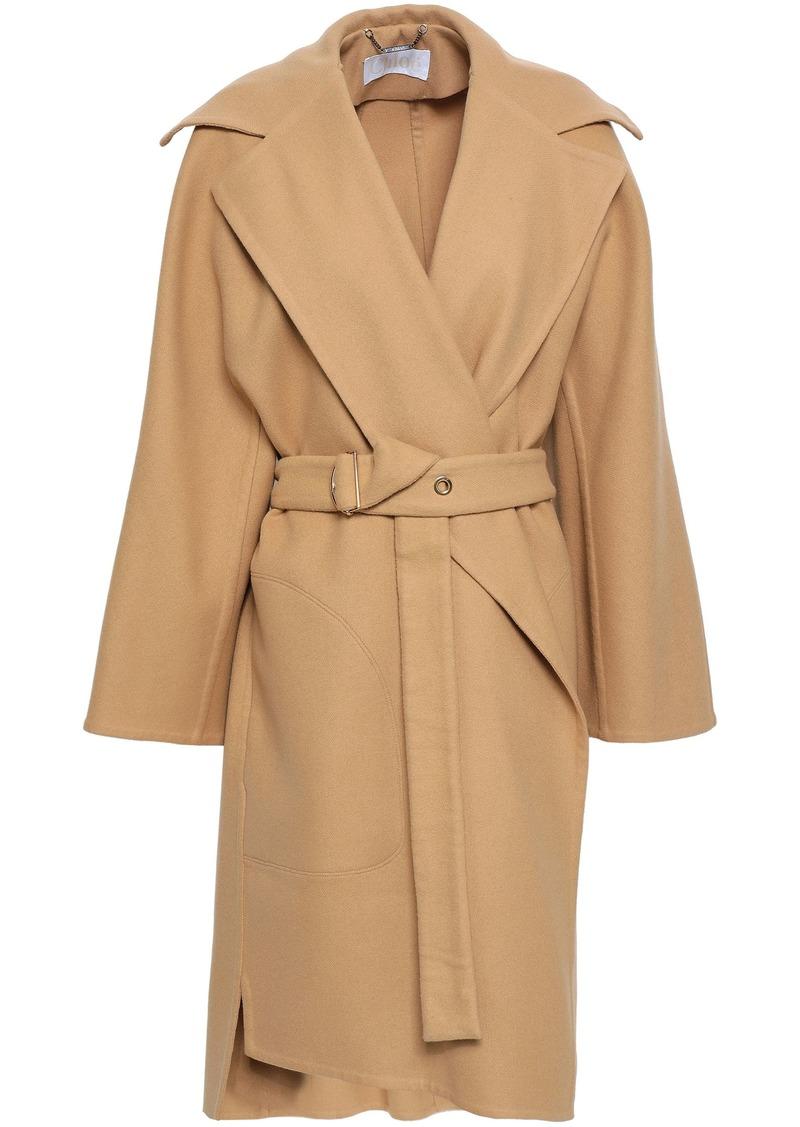 Chloé Woman Belted Wool-blend Felt Coat Sand