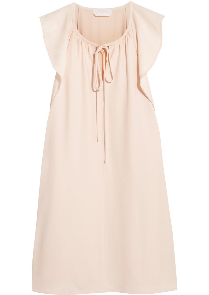 Chloé Woman Bow-detailed Cady Mini Dress Pastel Pink