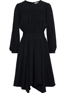 Chloé Woman Bow-detailed Gathered Crepe Dress Black