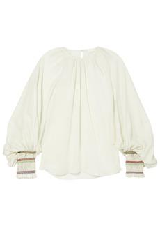 Chloé Woman Braid-trimmed Gathered Silk-gauze Blouse Mint