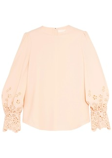 Chloé Woman Broderie Anglaise-trimmed Cady Blouse Beige