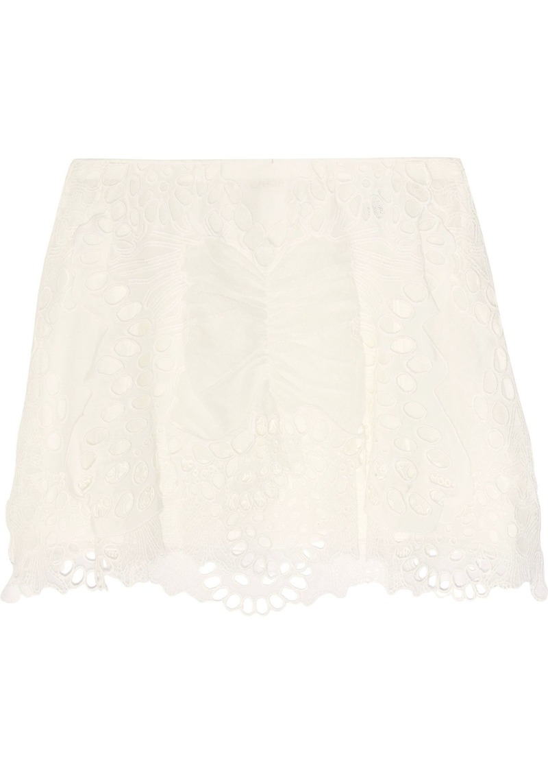 Chloé Woman Broderie Anglaise Tulle And Linen-blend Mini Skirt Ivory