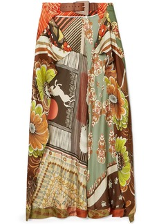 Chloé Woman Buckled Patchwork-effect Printed Silk-twill Midi Wrap Skirt Multicolor
