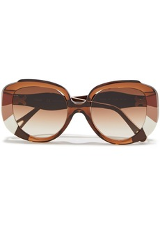 Chloé Woman Butterfly-frame Printed Acetate Sunglasses Light Brown