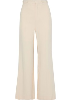 Chloé Woman Button-detailed Cady Wide-leg Pants Beige