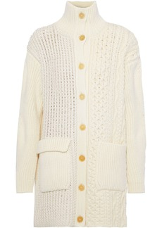Chloé Woman Cable-knit Wool-blend Cardigan Ivory