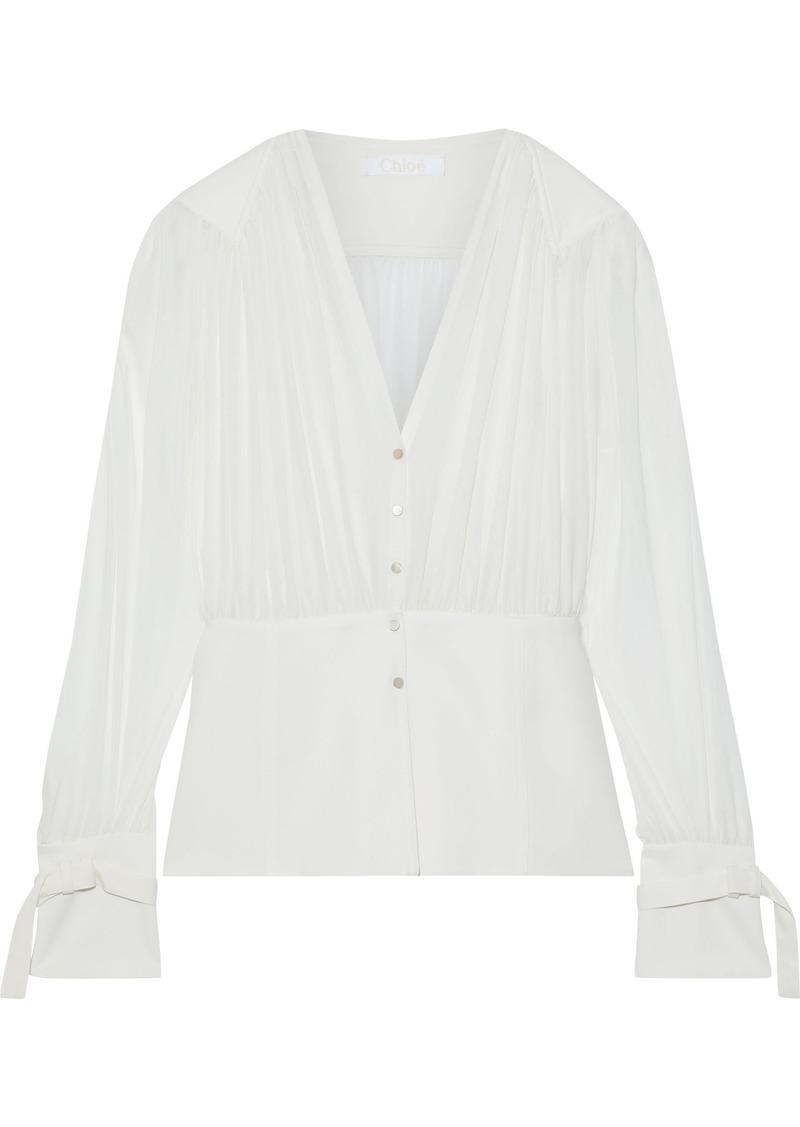 Chloé Woman Cady-paneled Pleated Silk-chiffon Blouse Off-white