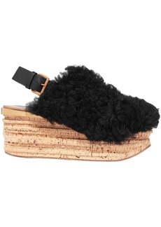 Chloé Woman Camille Leather-trimmed Shearling Platform Slingback Sandals Black