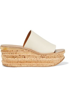 Chloé Woman Camille Leather Wedge Sandals Beige