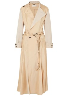 Chloé Woman Canvas-paneled Satin-twill Trench Coat Beige