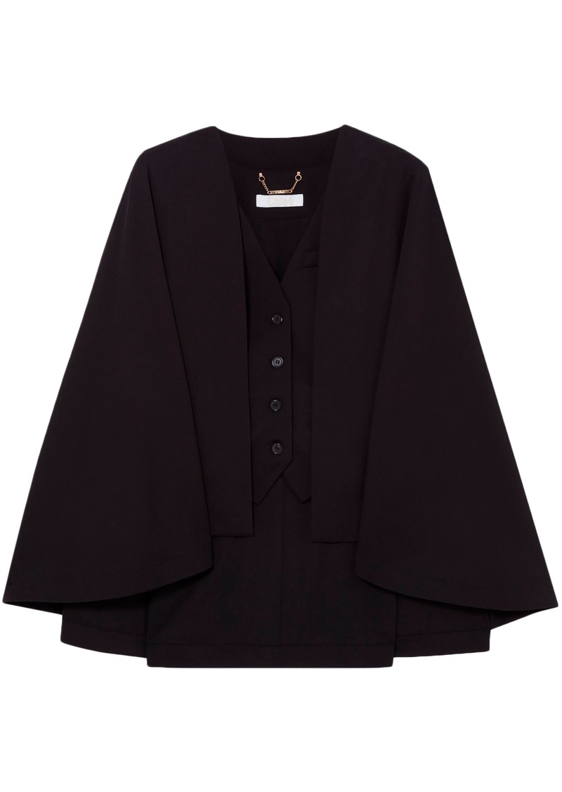 Chloé Woman Cape-effect Wool-blend Vest Black