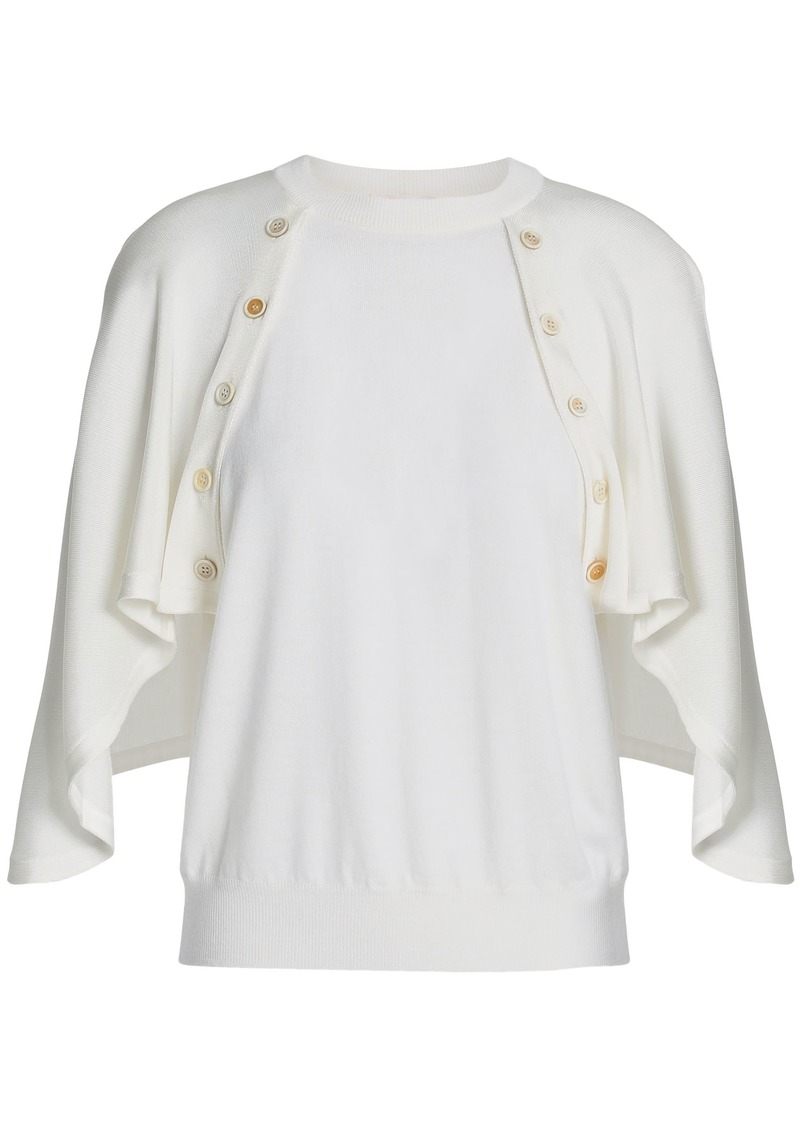 Chloé Woman Cape-effect Wool Top White