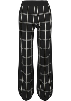 Chloé Woman Checked Wool-blend Track Pants Black